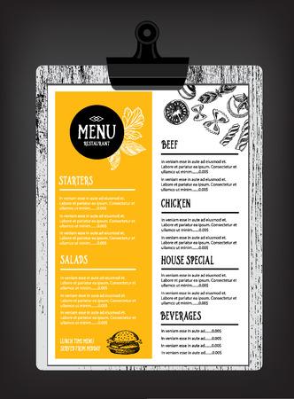 Menú Cafe folleto restaurante. Modelo del diseño de la Alimentación.