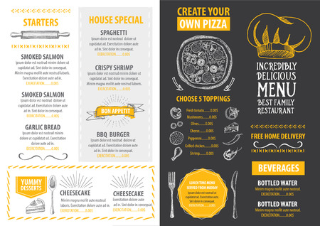 dessert: Restaurant cafe menu, template design. Food flyer. Illustration