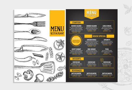 template: Restaurant cafe menu, template design. Food flyer. Illustration