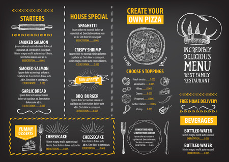 Restaurant cafe menu, template design. Food flyer. Vettoriali