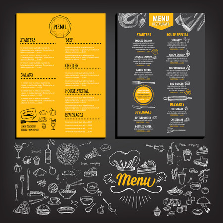 Restaurant cafe menu, template design. Food flyer. 일러스트