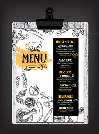 restaurant food: Restaurant cafe menu, template design. Food flyer. Illustration