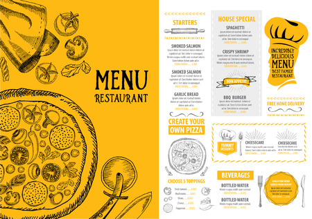 pizza: Cafe menu restaurant brochure. Food design template.
