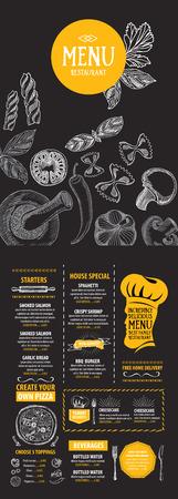 menu: Cafe menu restaurant brochure. Food design template.