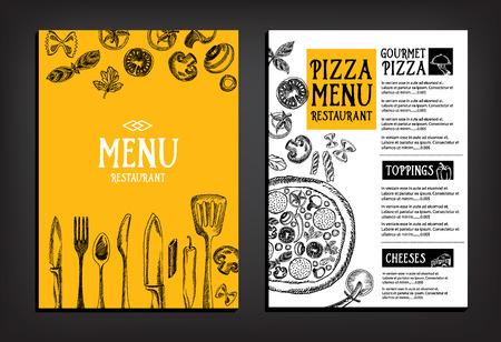 chef: Menú Cafe folleto restaurante. Modelo del diseño de la Alimentación.