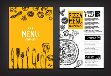 ristorante: Menu Cafe ristorante brochure. Modello di progettazione cibo.