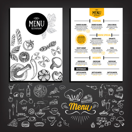 menu: Restaurant cafe menu, template design. Food flyer. Illustration