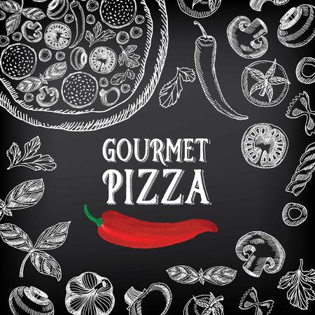 pizza: Menú Cafe folleto restaurante. Modelo del diseño de la Alimentación.