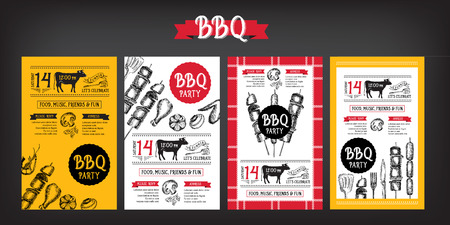 Barbecue party invitation. BBQ template menu design. Food flyer. Banco de Imagens - 42514466