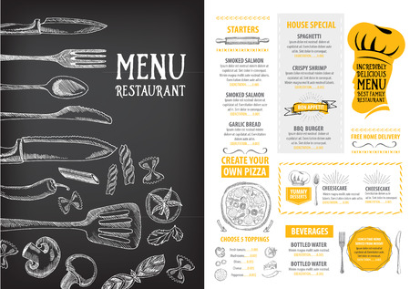 menu: Cafe menu restaurant brochure. Food design template.
