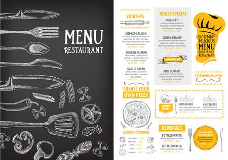 jídlo: Cafe restaurace menu brožura. Food šablony designu.