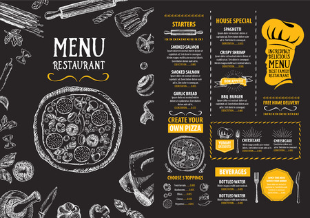 pizza: Restaurant cafe menu, template design. Food flyer. Illustration