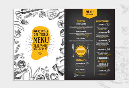 restaurants: Restaurant cafe menu, template design. Food flyer. Illustration