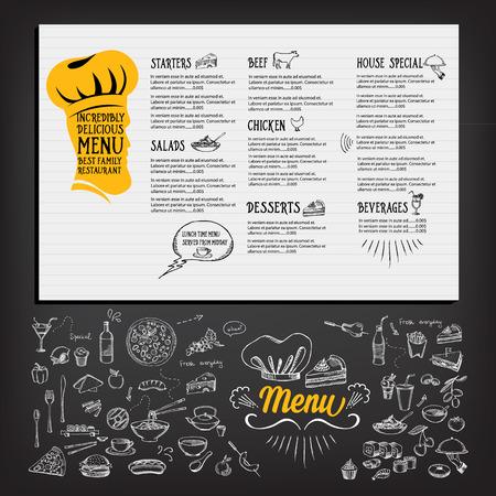 cafe menu: Restaurant cafe menu, template design. Food flyer. Illustration