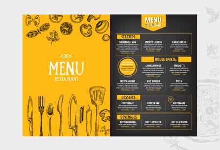 食べ物: カフェ メニュー レストラン パンフレット。食品のデザイン テンプレートです。
