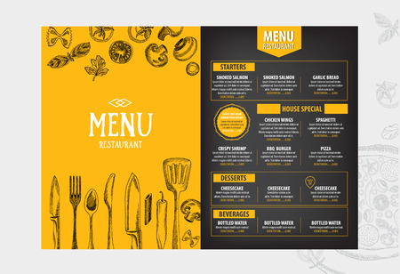 food: Cafe menu restaurant brochure. Food design template.
