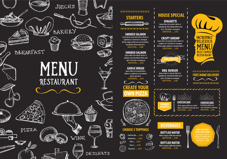 pizzas: Restaurant cafe menu, template design. Food flyer. Illustration