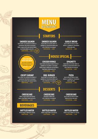 speisekarte: Restaurant cafe menu, template design. Food flyer. Illustration