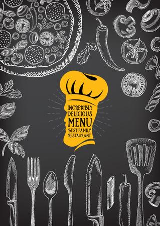 Restaurant cafe menu, template design. Food flyer.  イラスト・ベクター素材