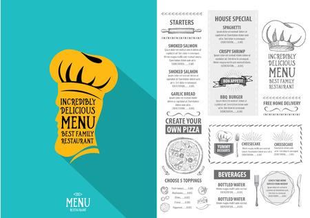 cafe food: Restaurant cafe menu, template design. Food flyer. Illustration
