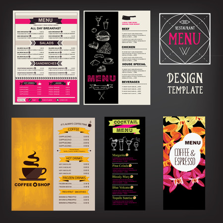 wine label: Restaurant cafe menu, template design. Food flyer. Illustration