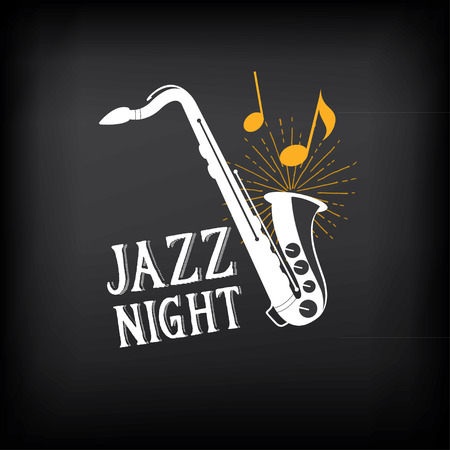 players: Jazz music party logo and badge design. Illustration