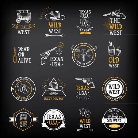 vaquero: Salvaje diseño insignias oeste. Elementos occidentales de la vendimia.