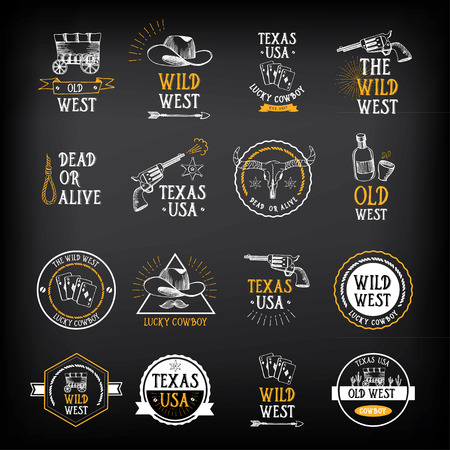 west: Wild west badges design. Vintage western elements.