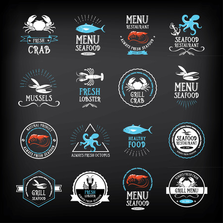 Seafood menu and badges design elements.