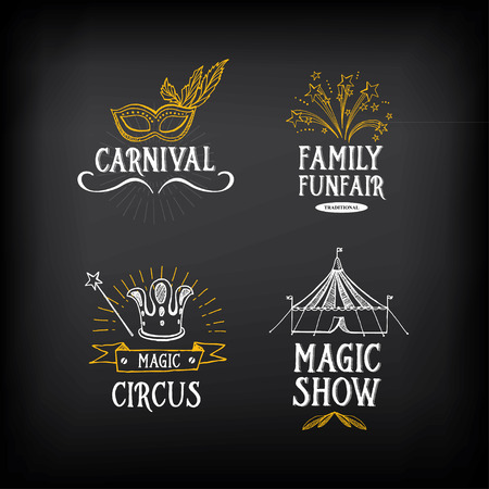 carnival: Circo y el diseño de carnaval vintage, elementos de la etiqueta.