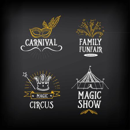 Circus and carnival vintage design, label elements. Illustration