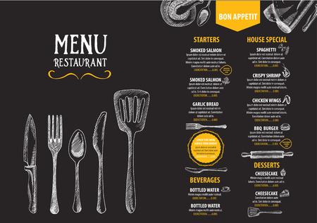 bbq: Restaurant cafe menu, template design. Food flyer. Illustration