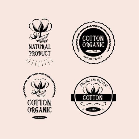 Insignias del diseño del algodón, producto orgánico.