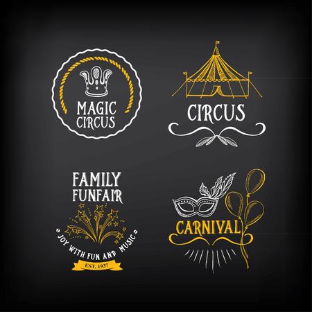 Circus and carnival vintage design, label elements. Çizim
