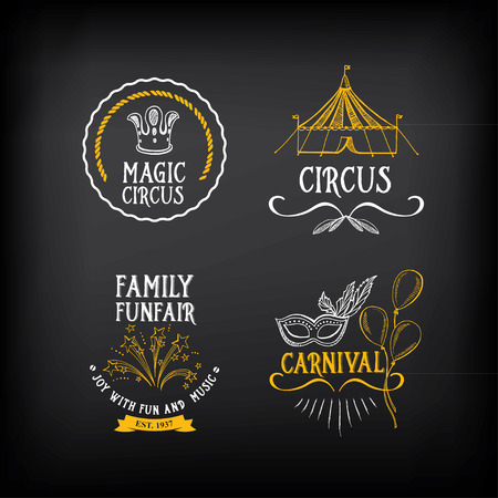 carnival masks: Circus and carnival vintage design, label elements. Illustration