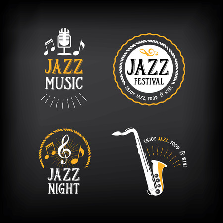 party design: Jazz music party logo and badge design. Illustration