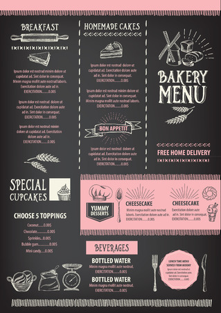 restaurant  menu: Restaurant cafe menu, template design. Food flyer. Illustration