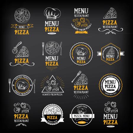 피자 메뉴 레스토랑 배지. 식품 디자인 템플릿입니다. 일러스트