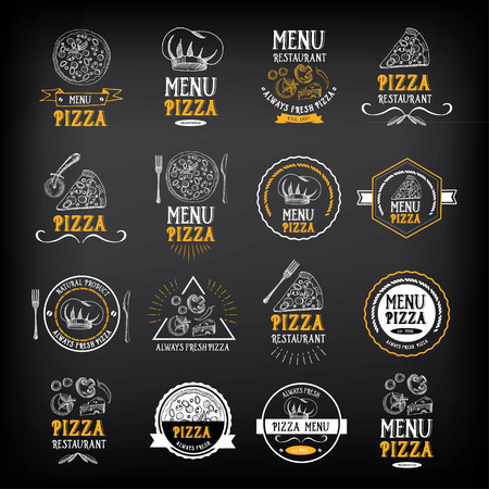 Pizza menu restaurant badges. Food design template. Ilustração
