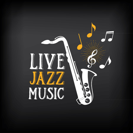 Jazz music party logo and badge design. 向量圖像