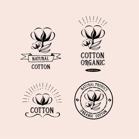 organic cotton: Cotton badges design, organic product.