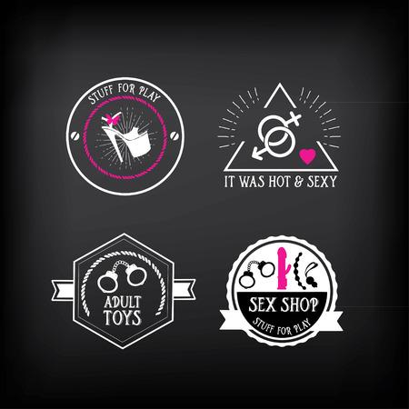 adults sex: Sex shop logo and badge design.
