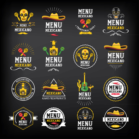 Menu mexican logo and badge design. 向量圖像