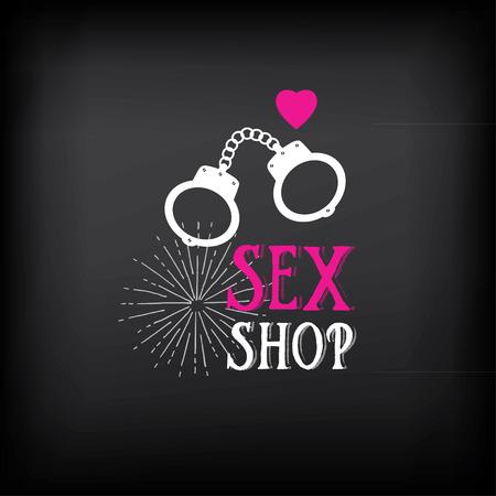 adult sex: Sex shop logo and badge design.