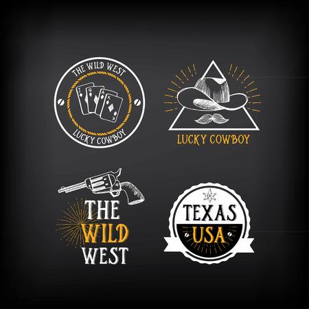 western usa: Wild west badges design. Vintage western elements.