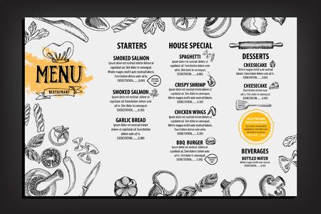 Menú de cafetería restaurante, diseño de la plantilla. Folleto de Alimentos. Foto de archivo - 43453325