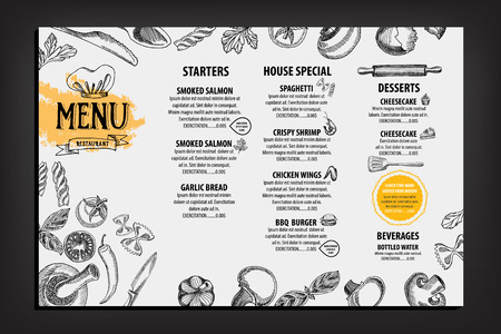 Restaurant cafe menu, template design. Food flyer. Vettoriali
