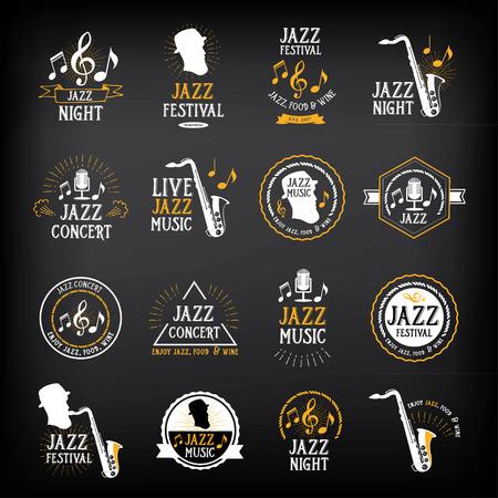 saxofón: Música de jazz logotipo del Partido y el diseño de placas. Vectores