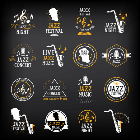 Jazz music party logo and badge design. Vettoriali
