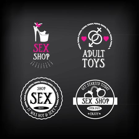 sexo: Sex shop logo y diseño de la insignia.